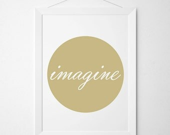 Imagine Poster, Imagine Print, Imagine Printable JPG, Wall Art, Nursery Decor, Minimal Design, Typography Art, Wall Poster, Instant Download