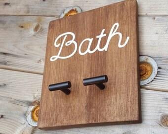 Towel Hook, Bath Towel Rack, Wooden Sign, Rustic Bathroom Decor
