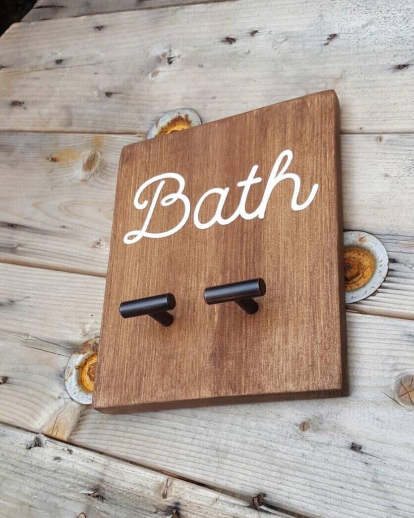 Towel Hook Bath Towel Rack Wooden Sign Rustic Bathroom