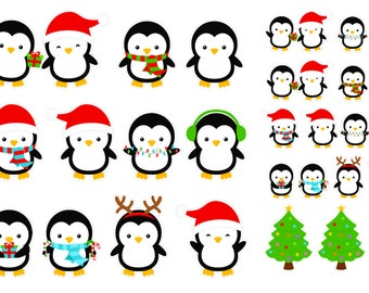 Christmas Penguins (planner stickers)