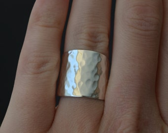 Wide Hammered Silver Ring - Shield Ring - Statement Ring - Cuff Ring - Armour Ring - UK Handmade
