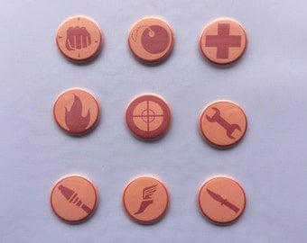 Team Fortress 2 Class Pin Set - Pinback Buttons