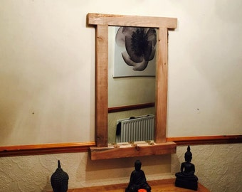 Rustic Wooden Mirror with 3 Tealights
