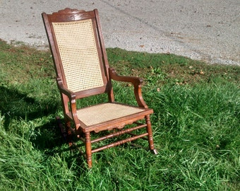beautiful wooden rocker from 1800's, newly caned