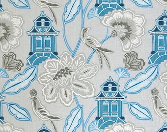 GreenHouse A7173 Sapphire - Upholstery Multi-purpose Fabric - Oriental, Asian, Bird, Blue, Gray, Linen