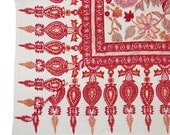 Anokhi White and Red Tapestry Hand-Block Printed Table Cloth