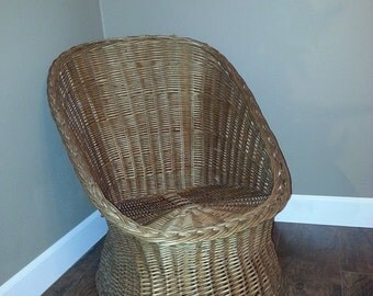 Vintage Wicker Chair - Handmade Natural Willow Chair - Wicker Patio Furniture - Woven Willow Furniture - Wicker Chair - Boho Chair - Boho
