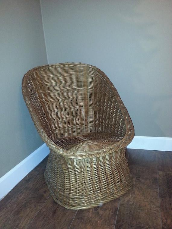 Vintage Wicker Chair Handmade Natural Willow By MyHailiesHaven