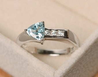 Aquamarine ring, arrow rings, gemstone ring aquamarine, promise ring, trillion cut ring