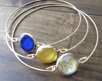 University of Michigan Bracelet, NCAA Jewelry, U of M Jewelry, Yellow and Blue Bracelet, Glass Cabochon Jewelry, Wolverines