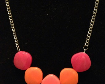 Beaded bib statement necklace in bright hot colors