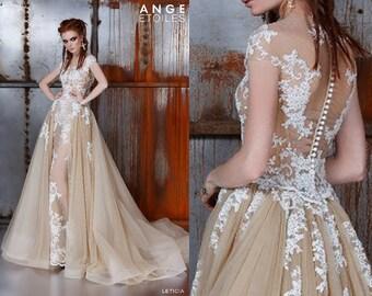 Wedding dress LETICIA, unique wedding gown, champagne dress