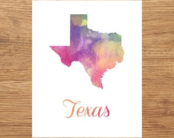 Texas Watercolor Fine Art Print, Watercolor Art, Texas Map Print, Watercolor Typography Art, State Wall Decor, Nursery, USA