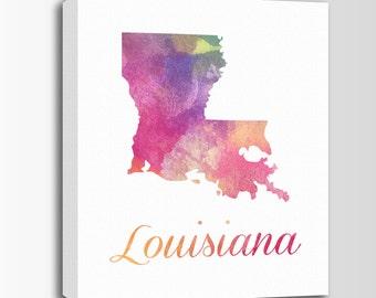 Louisiana Canvas Print, Watercolor Art, Louisiana Map, Personalized Art, Wall Decor, Watercolor Typography Art, Nursery Art, USA