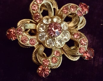 Vintage Pink Rhinestone Pin Brooch Signed Gold Tone