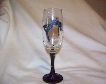 glitter pole dancer champagne flute
