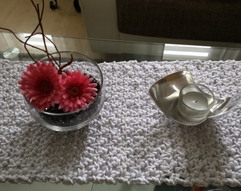 Crocheted table runner, in the colour of your choice