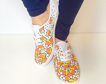 Custom fall canvas shoes - toddler, kids, adult - halloween shoes - Candy corn shoes - autumn  shoes - fall sneakers - fall tennis shoes