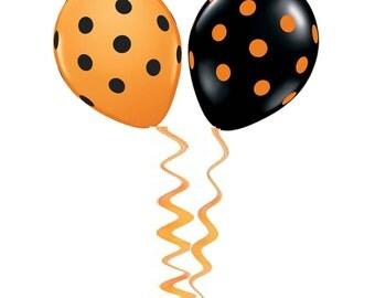 Balloons, Orange Balloon, Black Balloon, Polka Dot Balloon, Dots Balloon, Party Decoration, Party Decor, Halloween Party, Halloween Decor