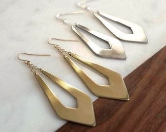 Elongated Drop Earrings - Elegant Gold or Silver Earrings, Hand-cut Metal Dangle Earrings, Art Deco, Statement Earrings, Gifts for Her