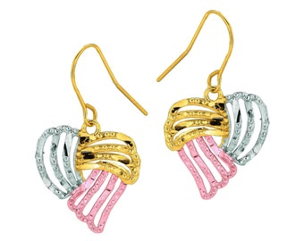 Earring in 14kt Gold Yellow+ White+Rose Drop Earring