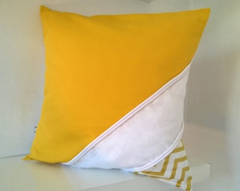 Yellow square Cushion cover white and gold