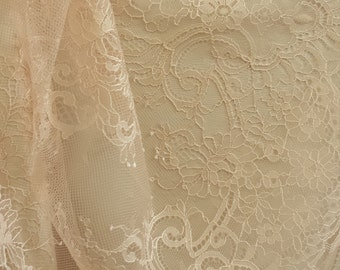 Salmon Pink lace fabric, Wedding lace, lingerie lace, pink chantilly lace fabric
