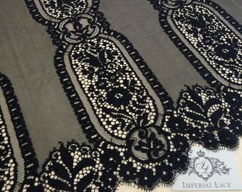 Black lace fabric, Wedding lace, lingerie lace, black chantilly lace fabric