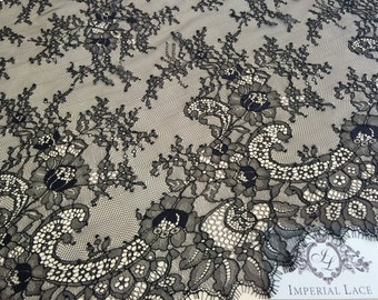 Black chantilly Lace fabric, Wedding lace, black chantilly lace fabric, flower pattern, french