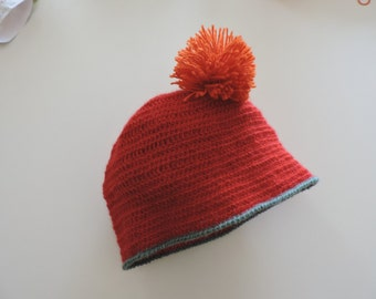 Red Alpaca with pompom Hat orange