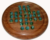 Handmade Solitaire board with glass marbles