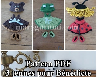 Crochet Pattern, pattern, tutorial, Amigurumi, dolls, 3 outfits for dolls Bénédicte (Pack 2)