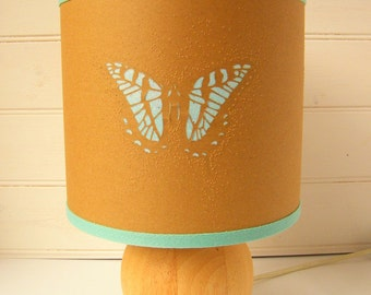 Paper cut swallowtail butterfly drum table lampshade with turquoise detail