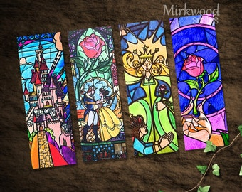 Beauty and the Beast Stained Glass Bookmarks |  Colorful Beauty and the Beast Printable Bookmarks Set of 4 |  Castle and Rose Stained Glass
