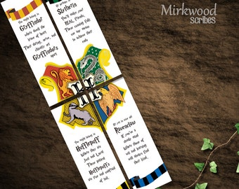 Harry Potter Bookmarks  |  Hogwarts Houses Bookmarks  |  Party Favors | Set of 4  |  Instant Download