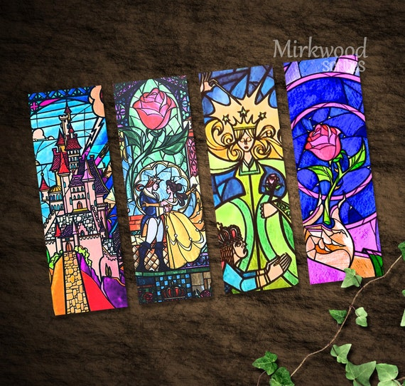 Beauty and the Beast Stained Glass Bookmarks    Colorful Beauty and the Beast Printable Bookmarks Set of 4    Castle and Rose Stained Glass