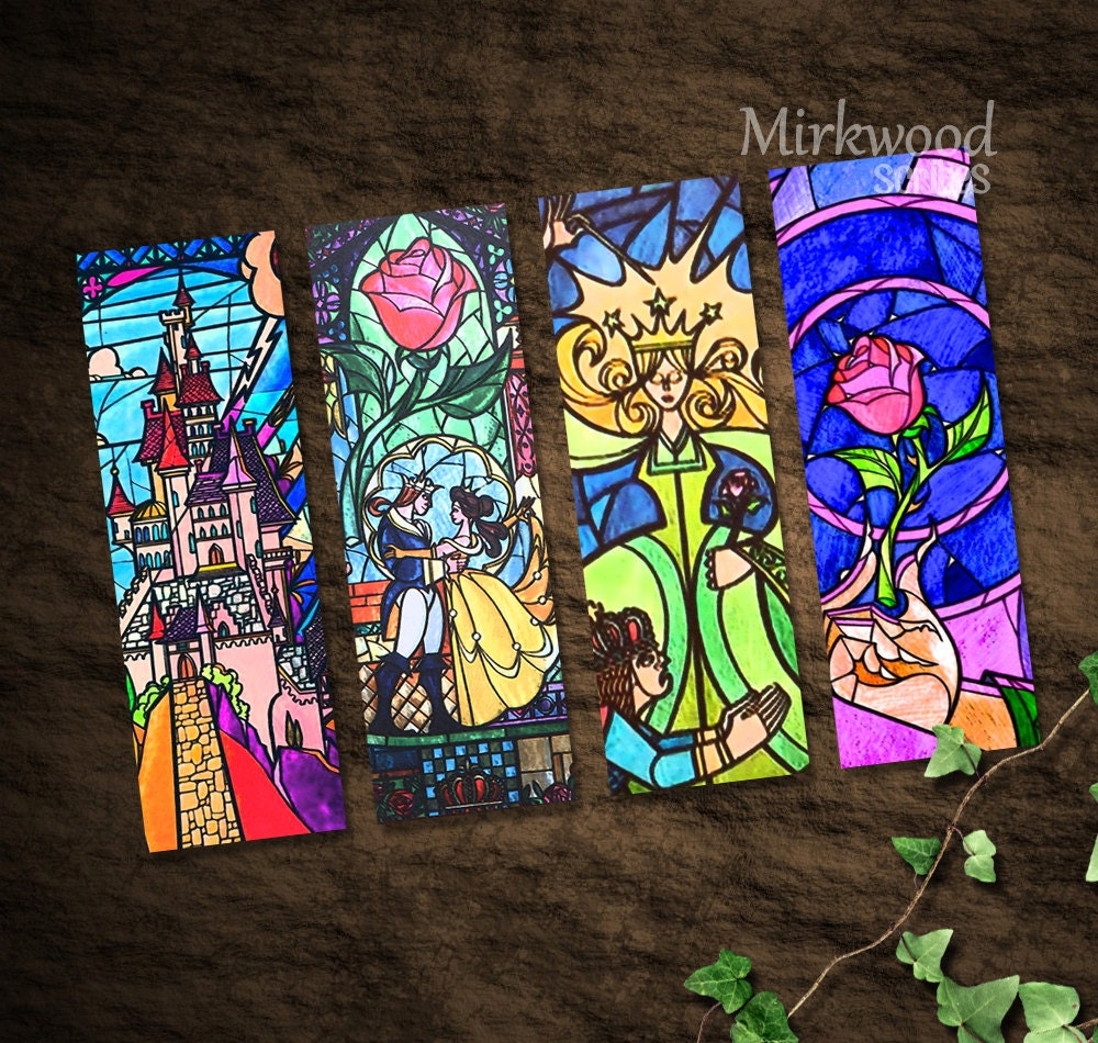 Beauty and the beast stained glass bookmarks colorful for Art et decoration pdf