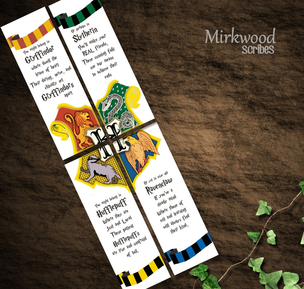 Harry Potter Bookmarks : Harry potter bookmarks hogwarts houses party