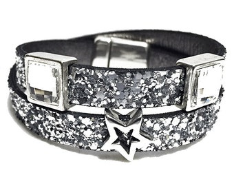 The Lexi 2 Swarovski Glitter Leather Bracelet