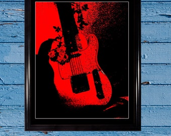 Guitar Art print, Black & Red; Wall decor, Music decor, Electric guitar, Music poster, Guitar poster