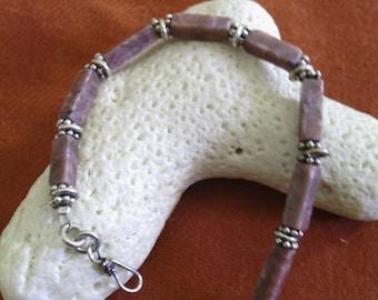 Pink Rhodonite & Sterling Silver Bracelet