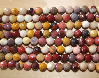 Mookaite 8mm Faceted Beads A Grade - 16 inch strand