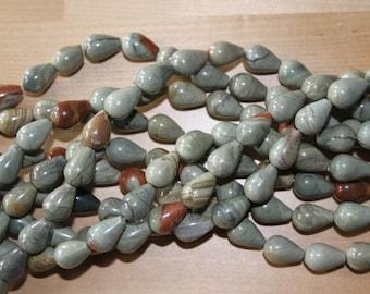 New Price-Silver Leaf Jasper 14-19mm Teardrop Beads