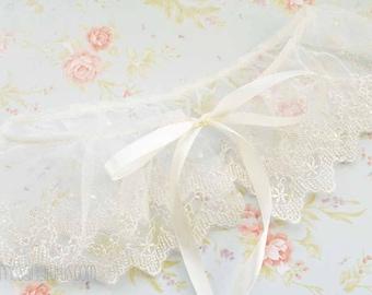 Cream Ivory Lace Removable Collar, Shaw, Decorative Collar