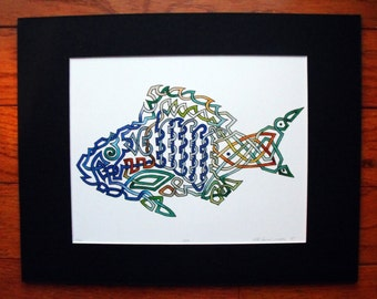 Fish Irish Celtic Knot, watercolor print, 11x14, fishing, brown blue green,