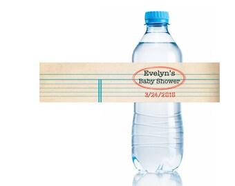 Custom Water Bottle Labels size 8x2, Build A Library Baby Shower, Baby Shower, Library Theme Shower, Customizable, Printable, Decor