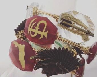Florida State Seminoles Wire Wrapped Bangle Bracelet Set of 4