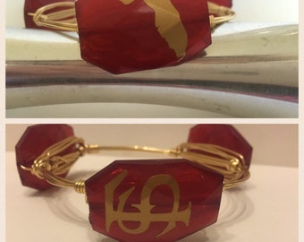 Florida State Seminoles Game Day Wire Wrapped Bangle Bracelet