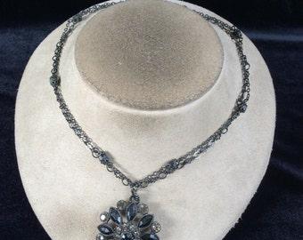 Vintage Double Stranded Gray & Black Rhinestone Pendant Necklace