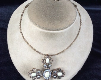 Vintage Blue Stone & Rhinestone Large Cross Pendant Necklace